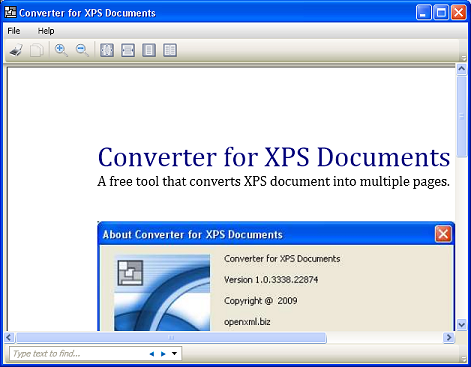 Click to view Converter for XPS Documents 1.0 screenshot